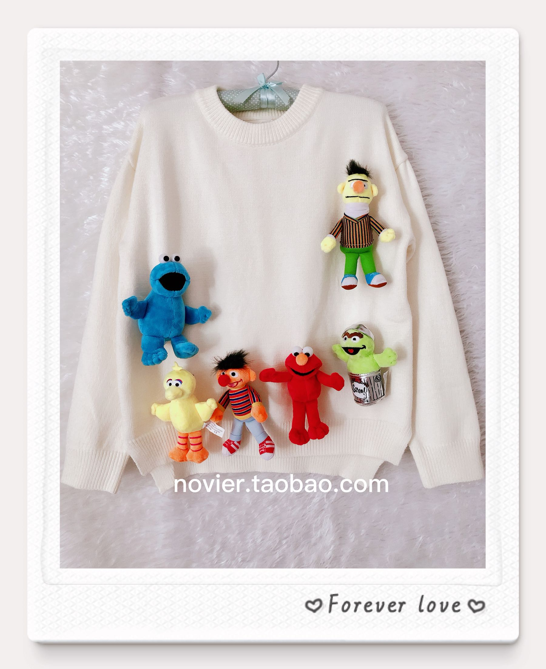 2019 new soft girl cute doll sweater women loose Pullover round neck white sweet sweater