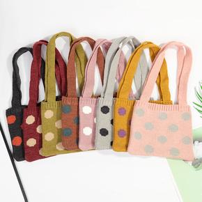 韩系儿童包包圆点百搭针织毛线包女童单肩包森系宝宝斜跨包小背包