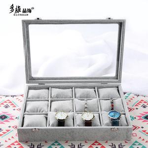 12格冰花绒枕头手表托盘手链展示盘手镯手串首饰收纳盒饰品珠宝箱