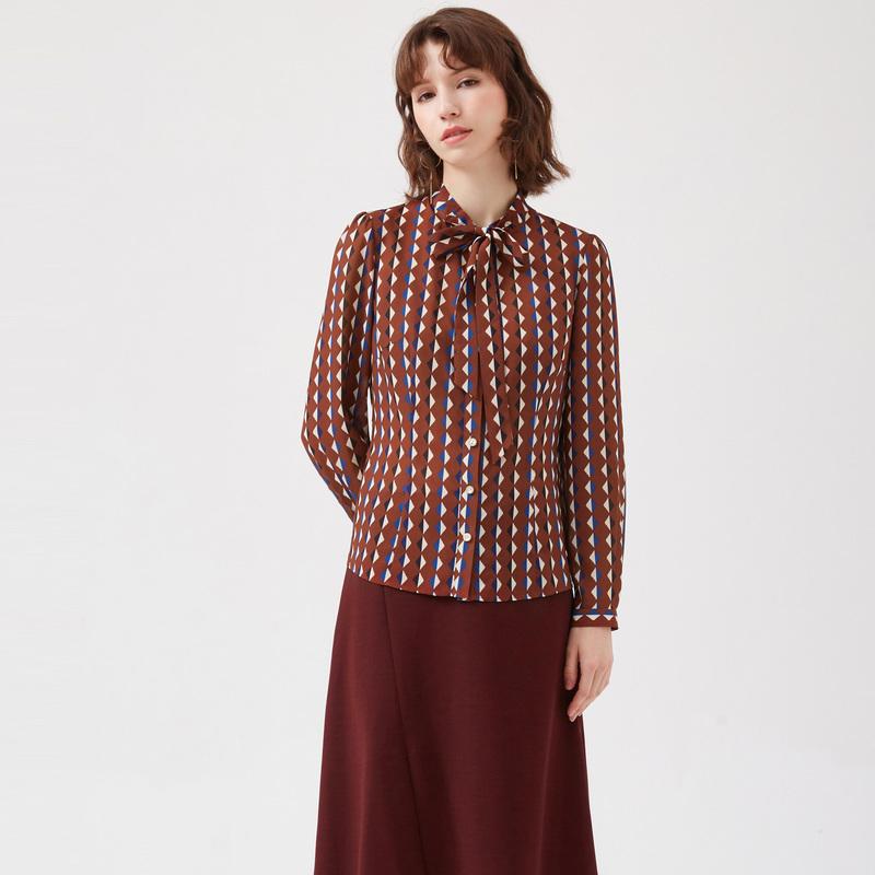 (用20元券)美之藤春夏新款女装通勤飘带衬衫