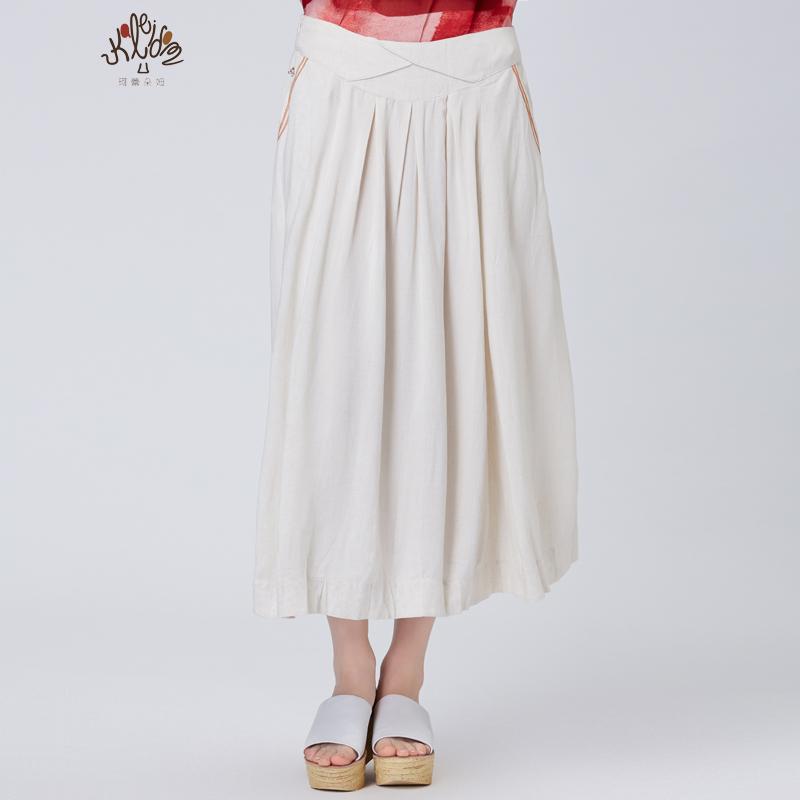 舒朗旗下珂蕾朵姆2018夏装新款文艺复古气质中长款半裙女K2142D10