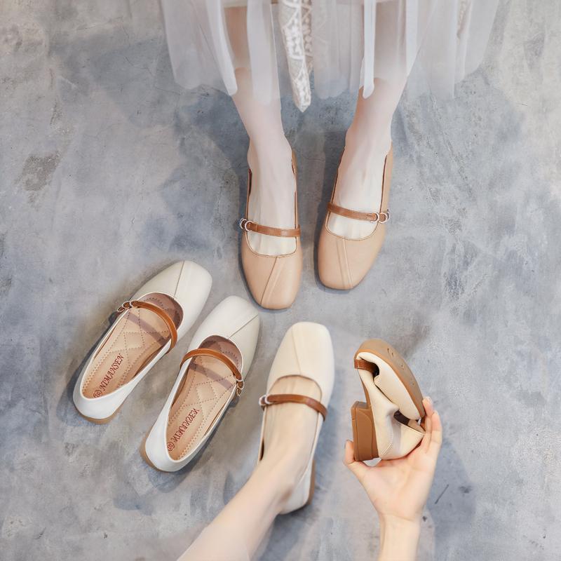 真皮鞋子女2021夏季新爆款平底单鞋百搭奶奶鞋学生豆豆鞋女乐福鞋