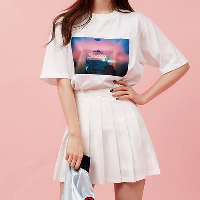 韓國chuu官網正品代購夏季百搭A字高腰糖果色百褶裙半身裙褲裙女