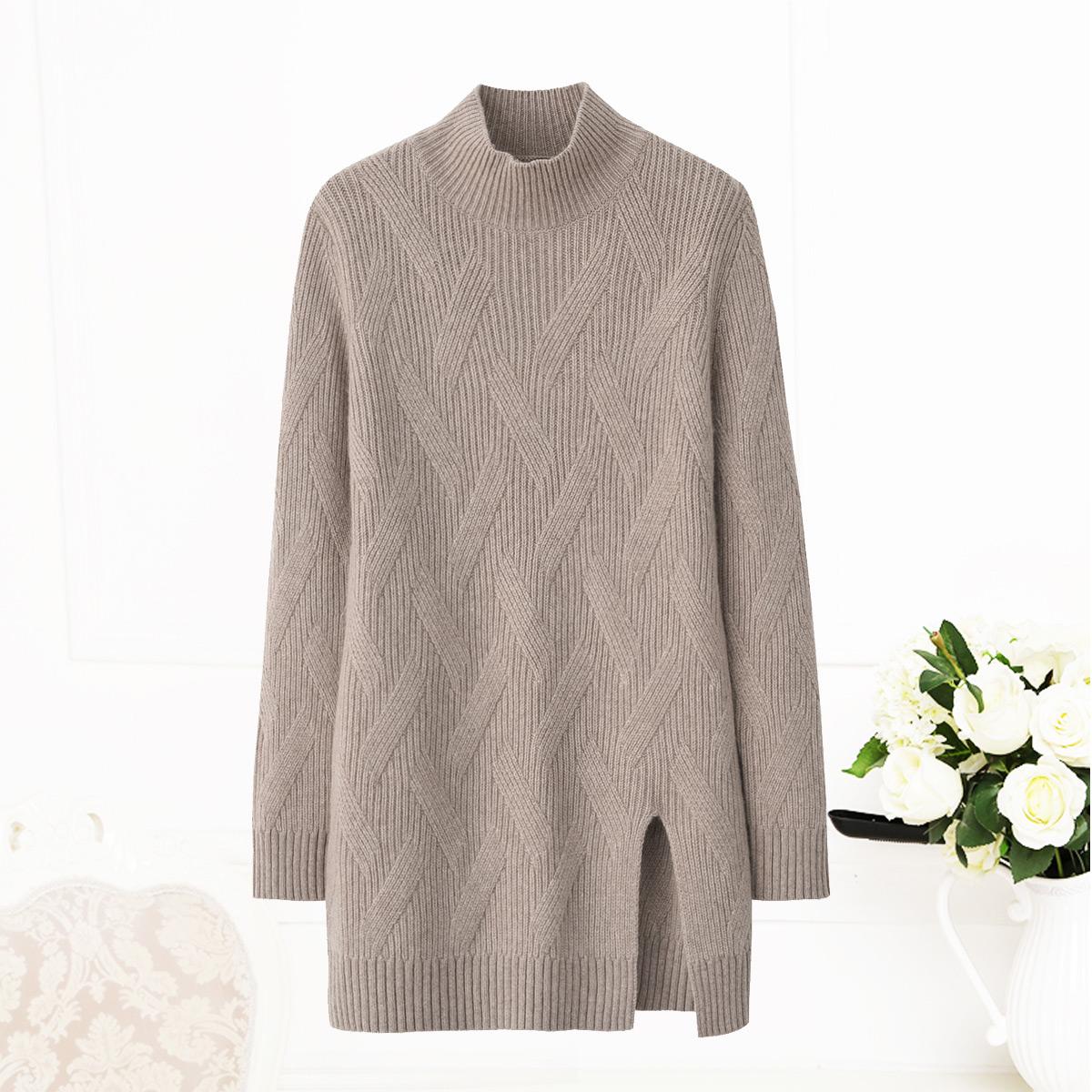 女士显瘦羊绒衫半高领加厚针织连衣裙秋冬新款中长款韩版套头毛衣