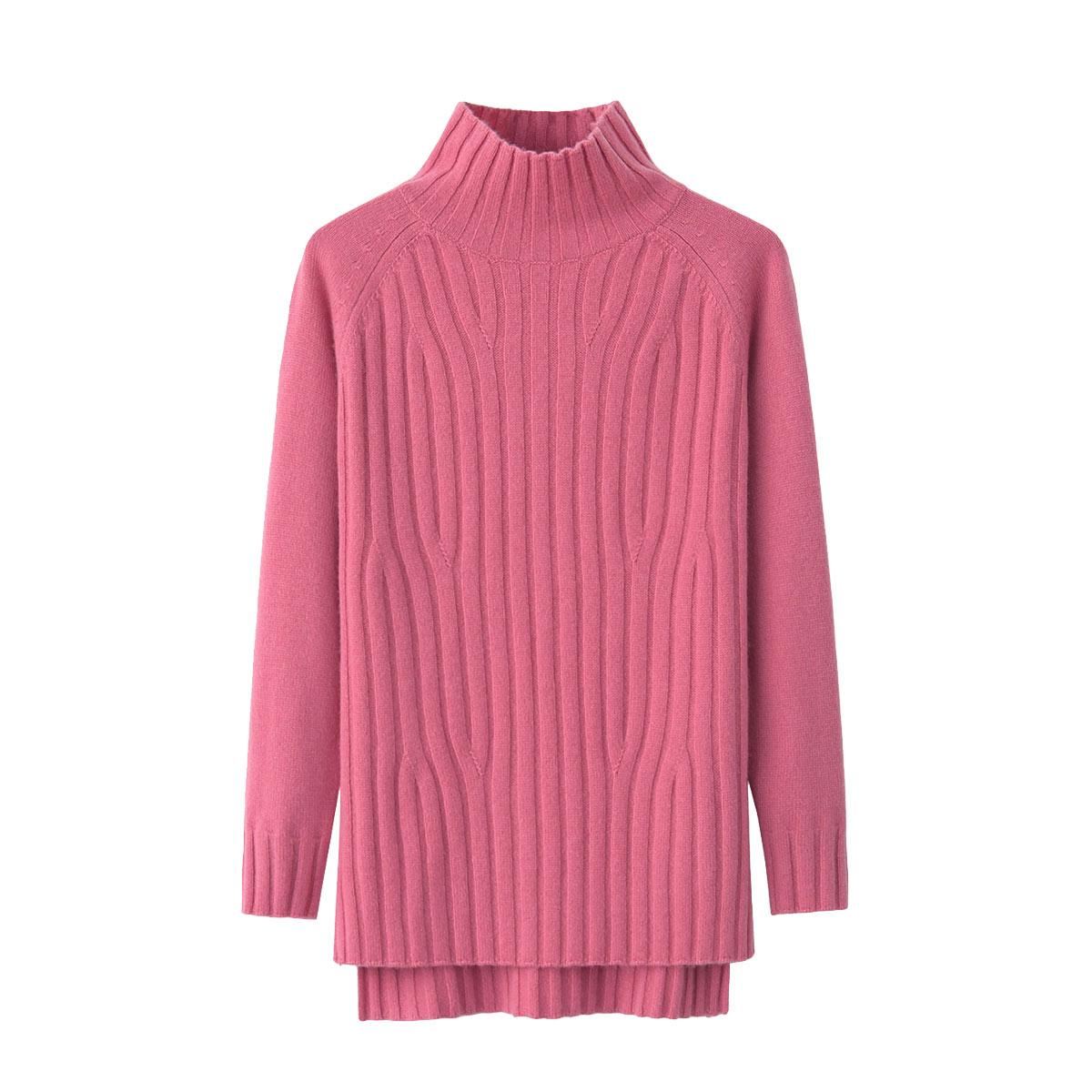 韩版宽松女士羊绒衫半高领开叉针织中长款时尚秋冬女装长袖毛衣新