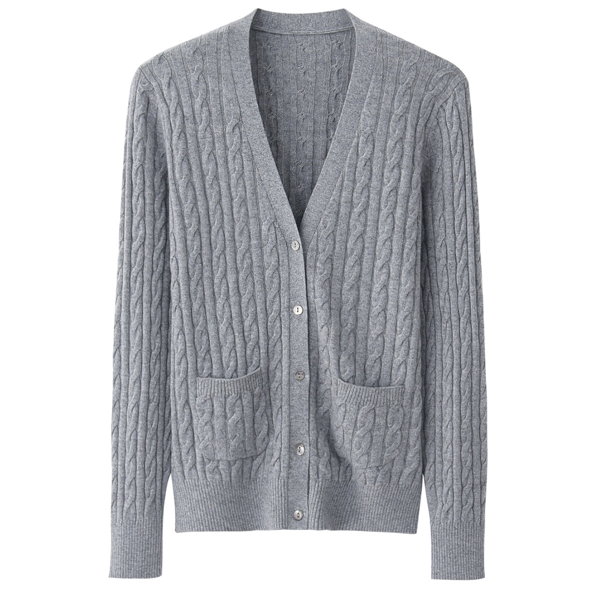 秋冬新款女士羊绒衫V领对襟针织休闲开衫外套补丁韩版修身毛衣