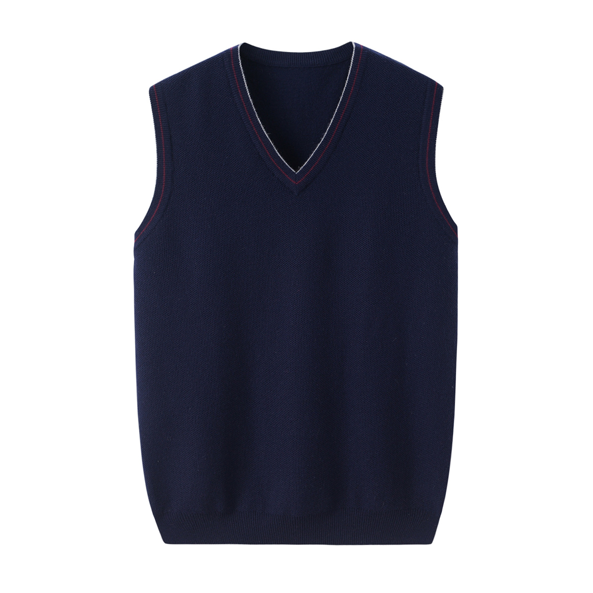 Xingrong autumn and winter new mens cashmere V-neck vest simple splicing contrast knitted shoulder casual vest thin