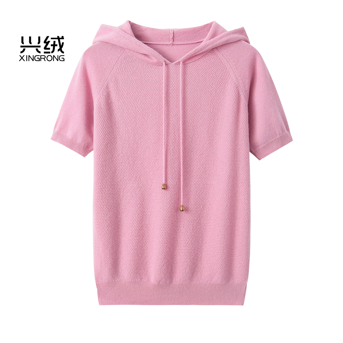 Xingrong cashmere sweater womens hooded short sleeve Hoodie loose Korean sports knitting half sleeve Pullover Sweater new T-shirt