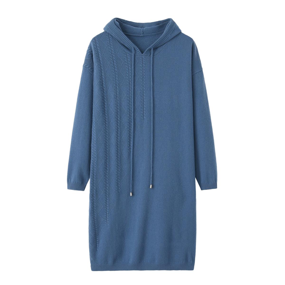 羊绒衫女式连帽针织衫中长款韩版宽松套头卫衣毛衣秋冬新款毛衣裙