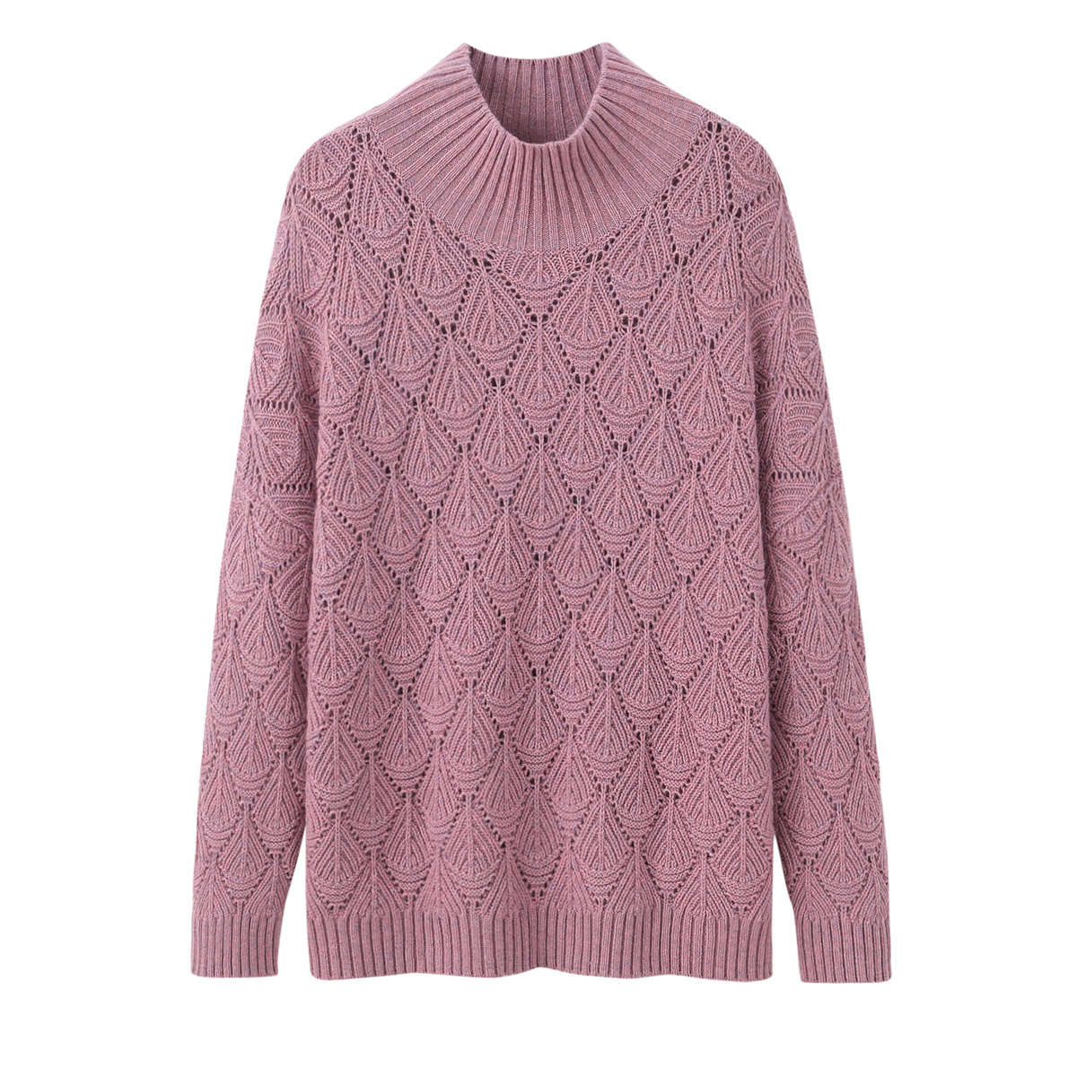 Autumn new cashmere sweater womens half high neck hollow knitting Korean loose bottomed sweater fashion long sleeve sweater