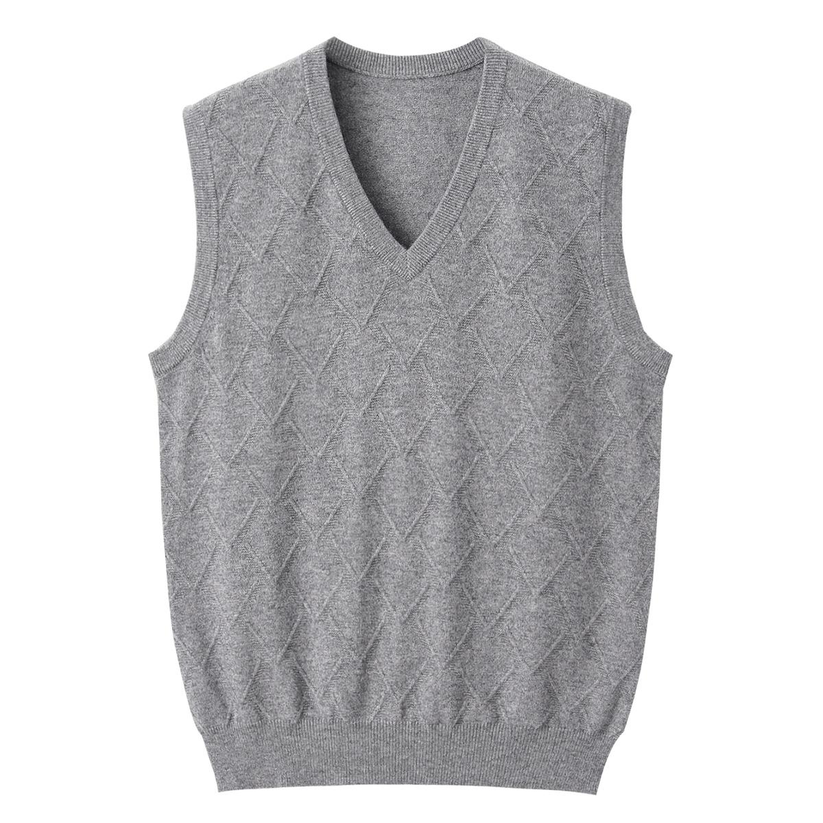 Xingrong Inner Mongolia cashmere sweater mens V-neck classic Plaid vest business casual VEST NEW shoulder