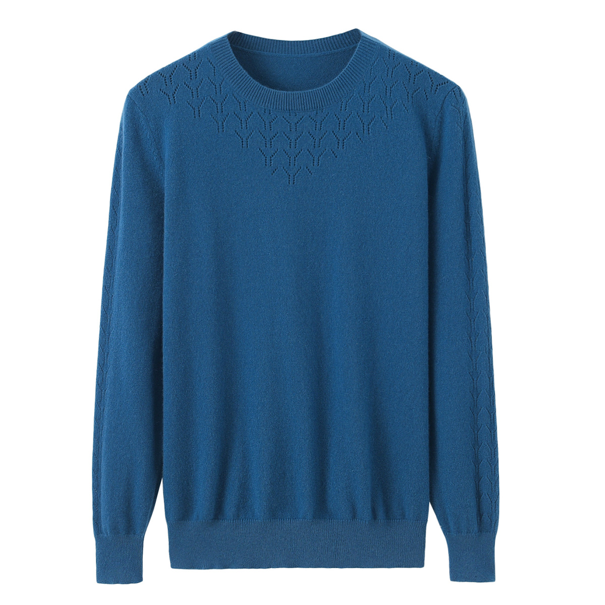 Xingrong autumn and winter new round neck hollow out womens cashmere sweater color simple knitting Korean version commuter bottomed sweater authentic