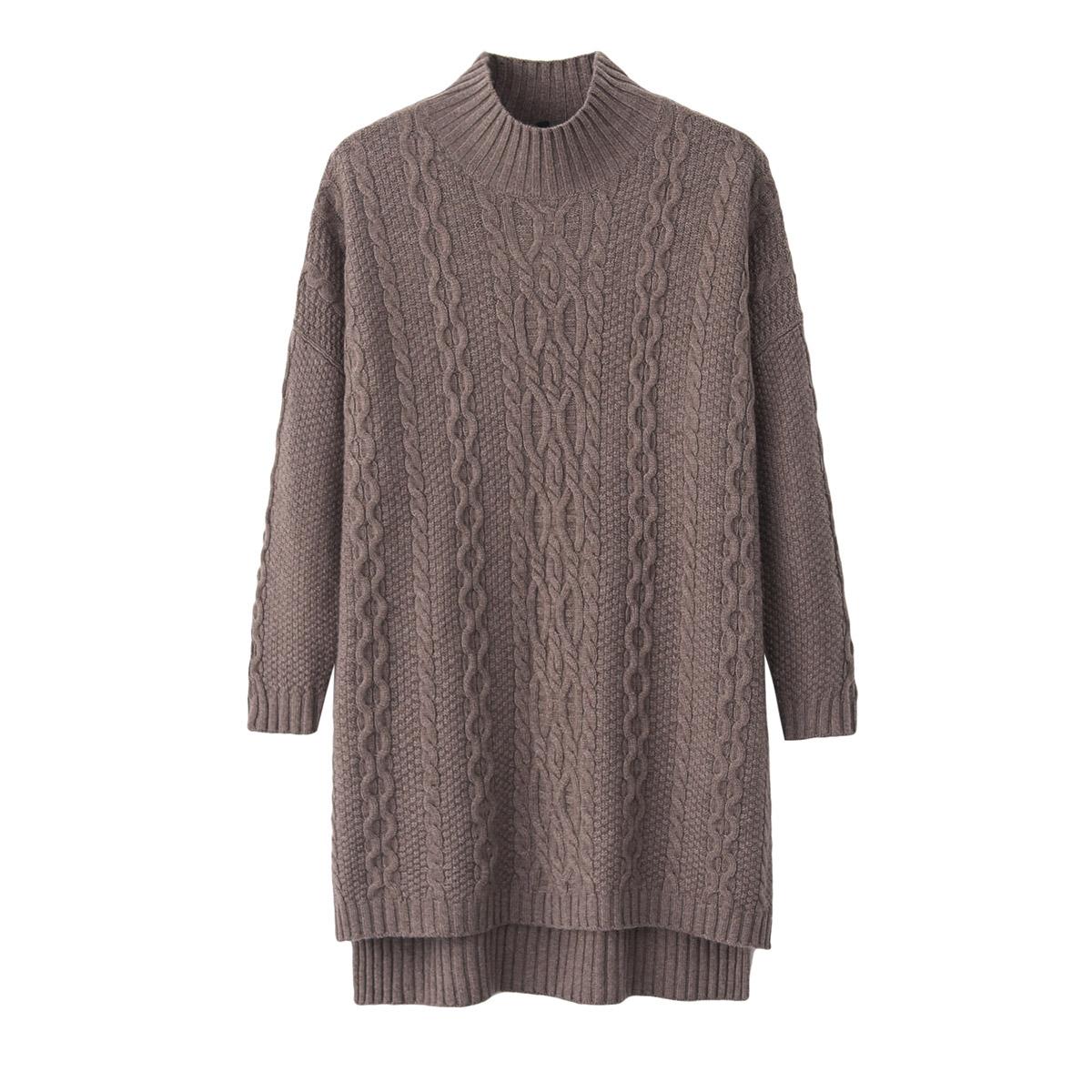 女士半高领羊绒衫中长款宽松韩版显瘦针织衫前短后长开叉套头毛衣