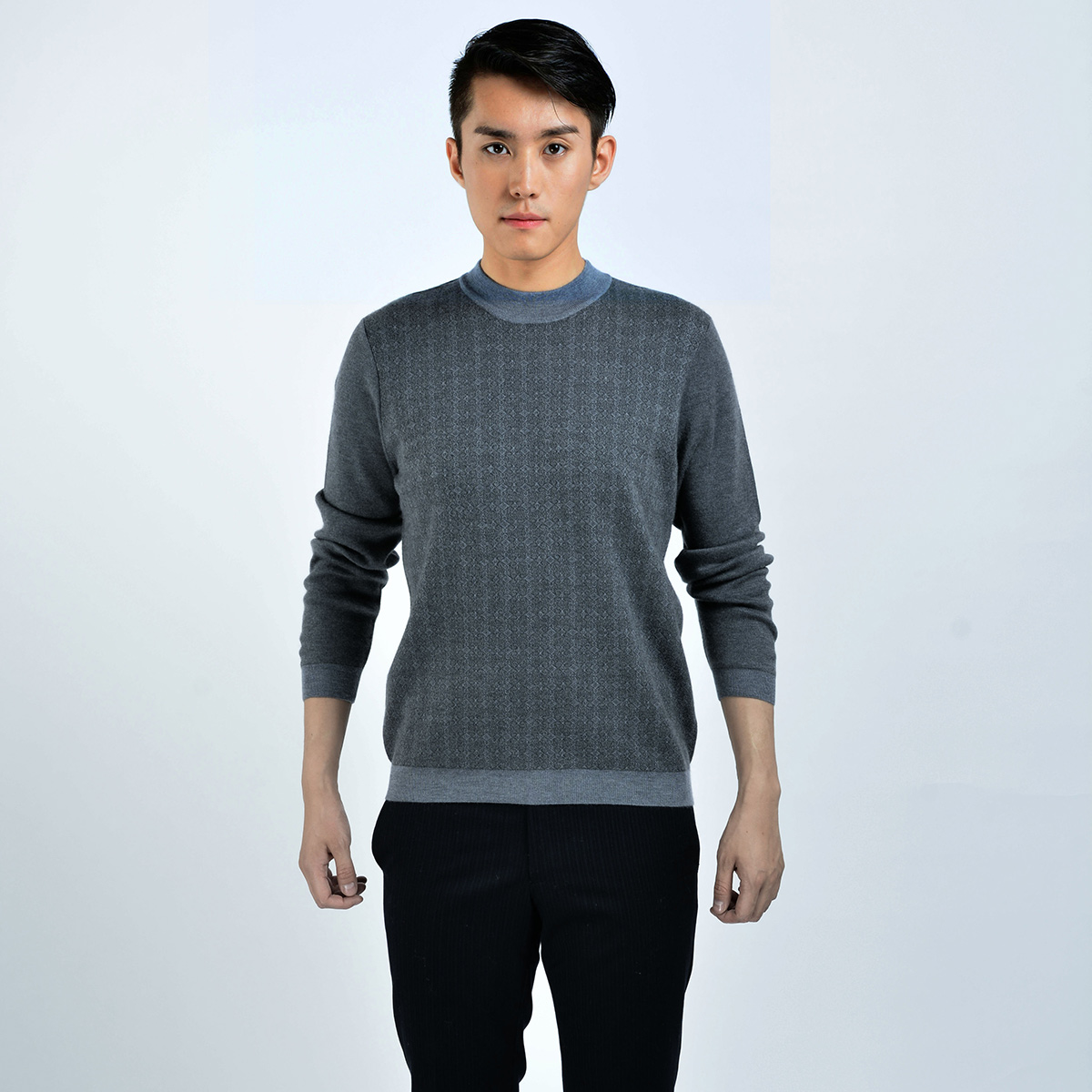 Autumn and winter mens cashmere sweater mens round neck worsted double lift thickened Pullover middle aged sweater color matching Korean version
