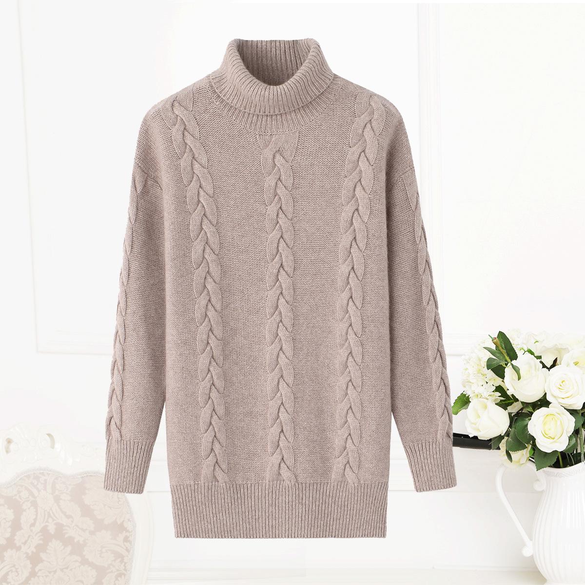 女式中长款羊绒衫高领加厚慵懒弹力秋装毛衣连衣裙韩版品牌打底衫