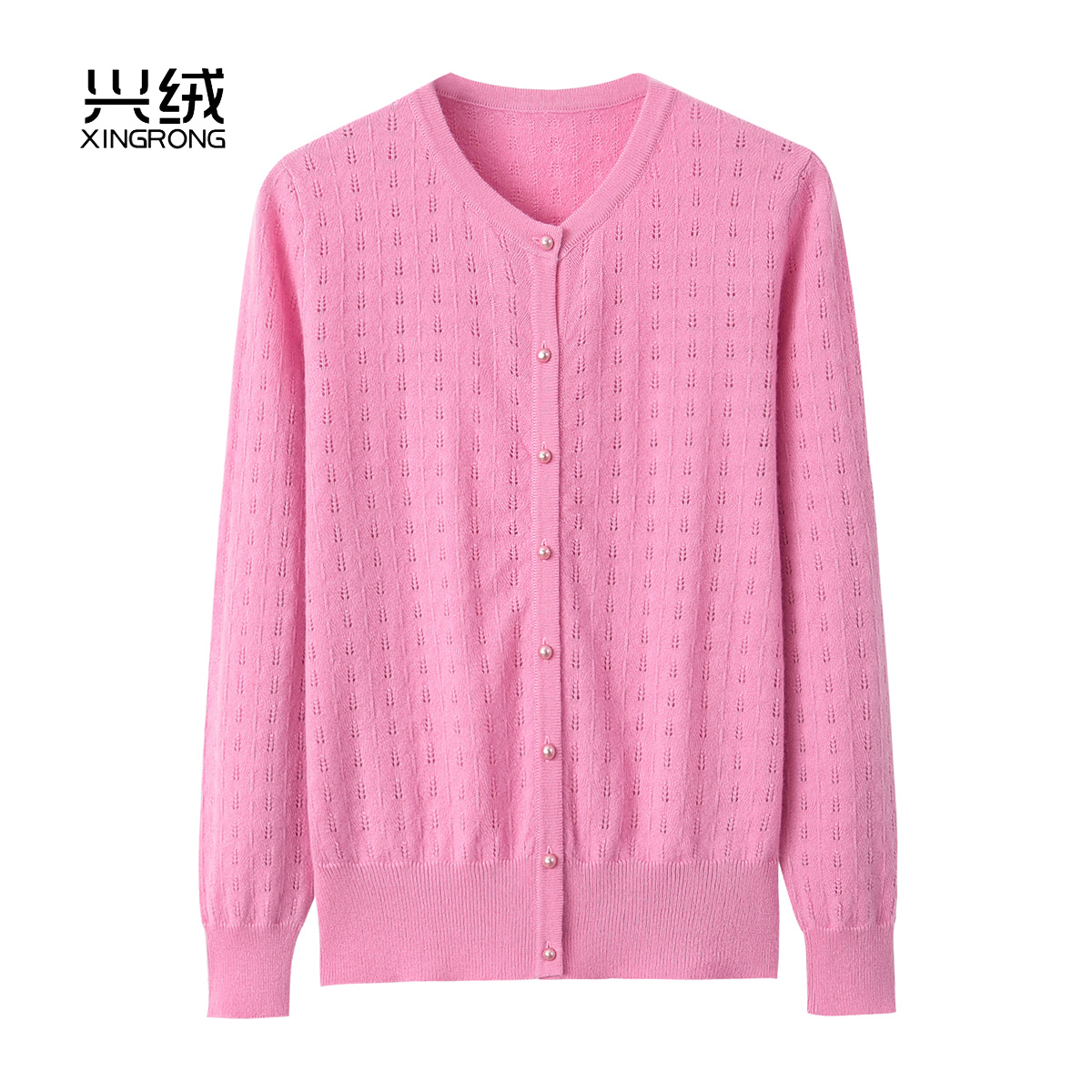 Early autumn womens new pure cashmere sweater womens round neck hollow out sweater simple thin sweater coat