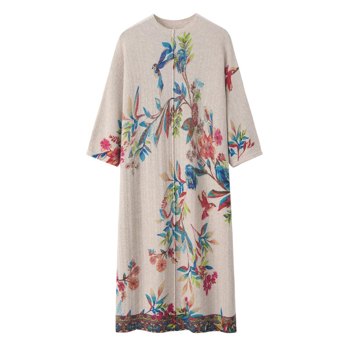 2020秋冬新款时尚羊绒衫女式圆领中长款全身印花针织衫毛衣连衣裙