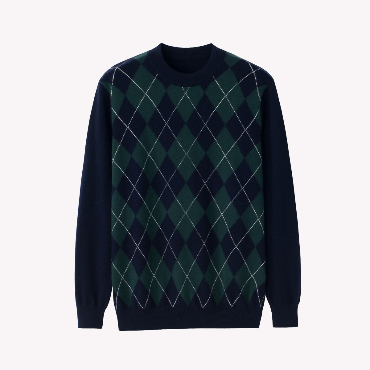 Xingrong autumn winter new cashmere sweater mens round neck Pullover diamond lattice slim fit Korean thin knitted sweater