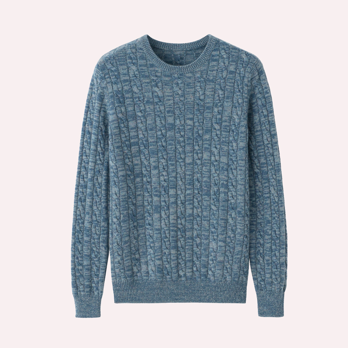 AB yarn cashmere sweater mens round neck two color yarn knitted sweater thickening leisure youth Korean sweater Pullover fashion