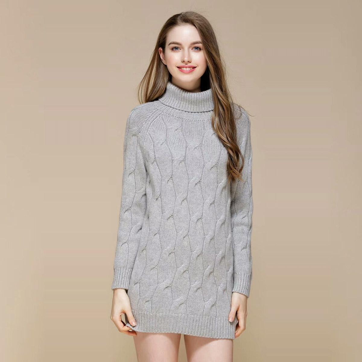 内蒙古纯羊绒连衣裙女式插肩袖中长款显瘦慵懒加厚毛衣韩版新品