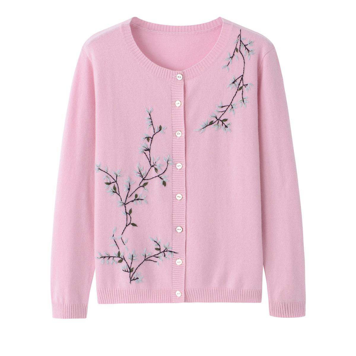 秋冬モデルの中老年純度のカシミヤのカーディガン女性のカーディガンの丸首の毛のニットの刺繍のピンクのセーターの上着