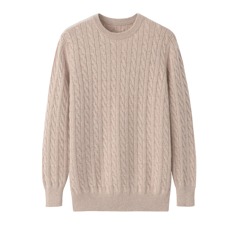 Youth cashmere sweater mens round neck slim thickening Korean version simple camel color knitted pullover new products