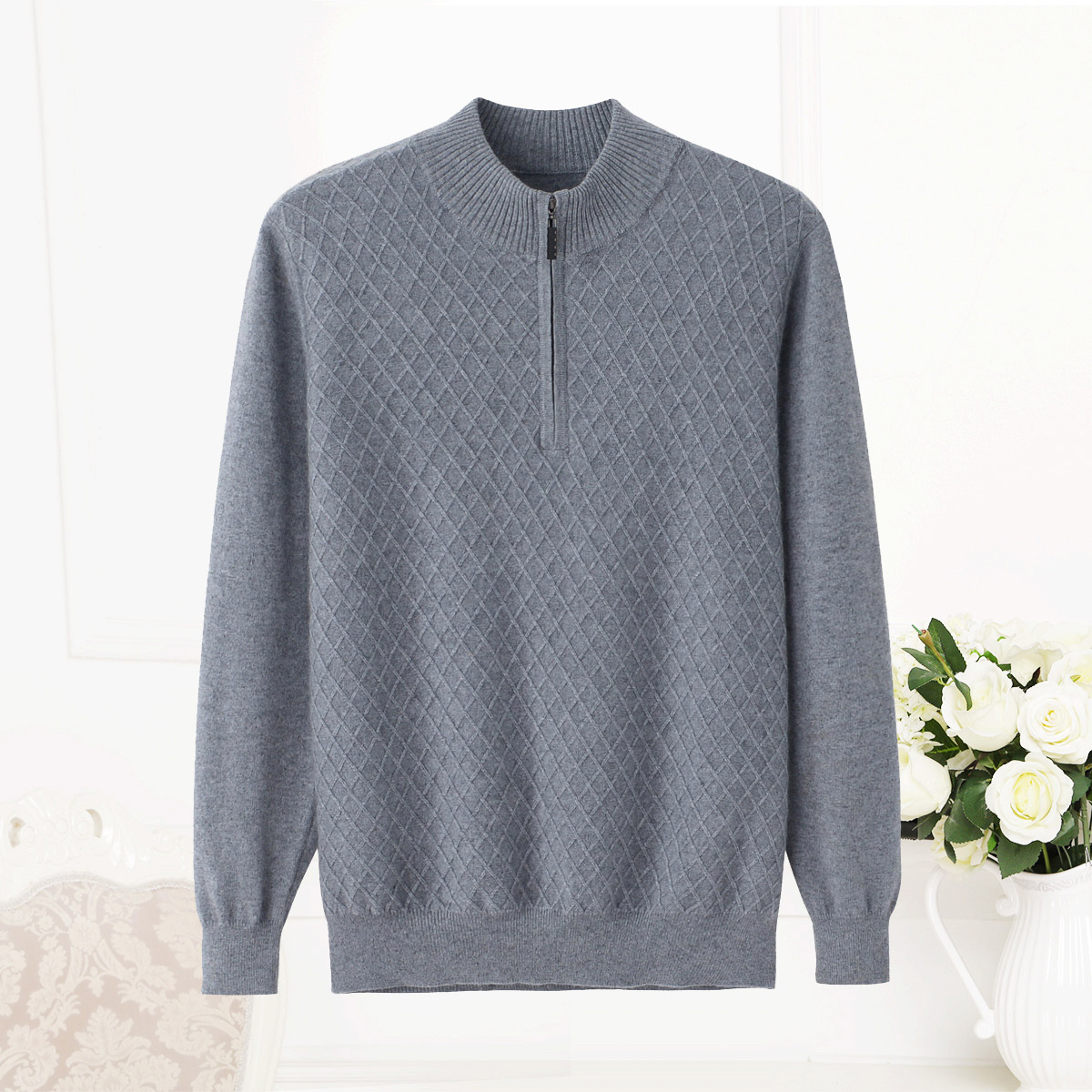 Mens cashmere sweater half high collar zipper loose Korean Plaid young and middle-aged knitted sweater leisure coat new products