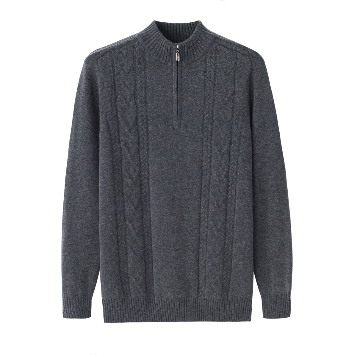 Thickened cashmere sweater for young and middle aged mens half high collar zipper slim fit Korean knitted sweater Pullover Sweater autumn wear