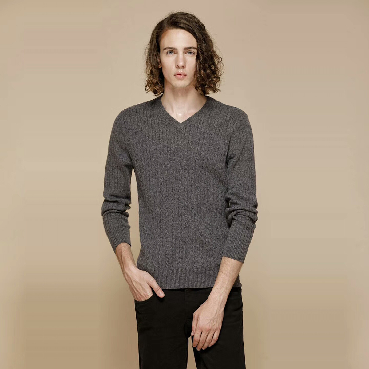 Basic new pure cashmere sweater mens V-neck twist pattern simple slim sleeve Korean knitted bottomed sweater