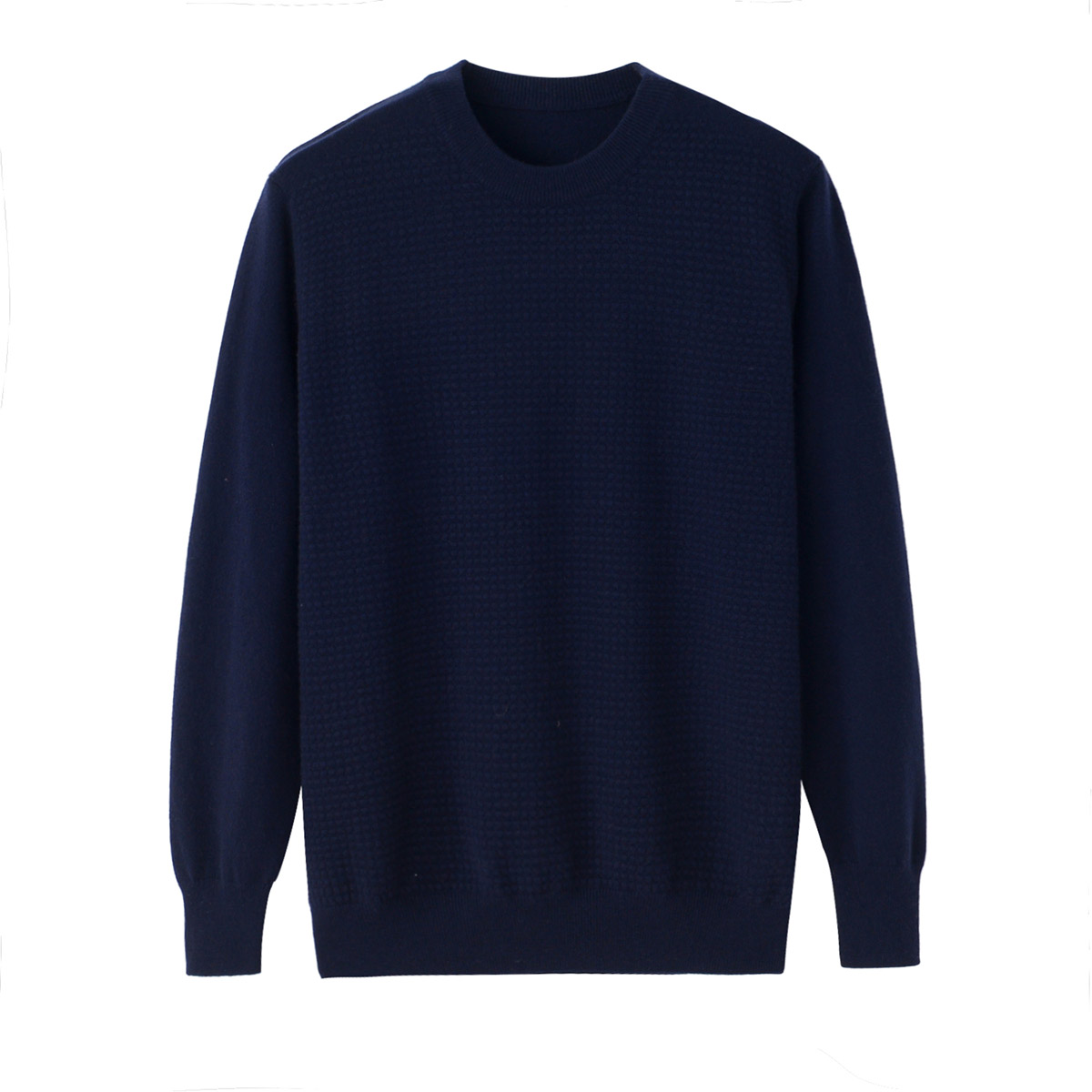 2017 new cashmere sweater mens round neck honeycomb thickening solid color simple knitting loose bottomed sweater autumn and winter
