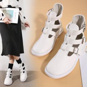 X-24838# 网红同款镂空高帮凉靴韩国方头短靴马丁靴春秋单靴 鞋子批发女鞋货源