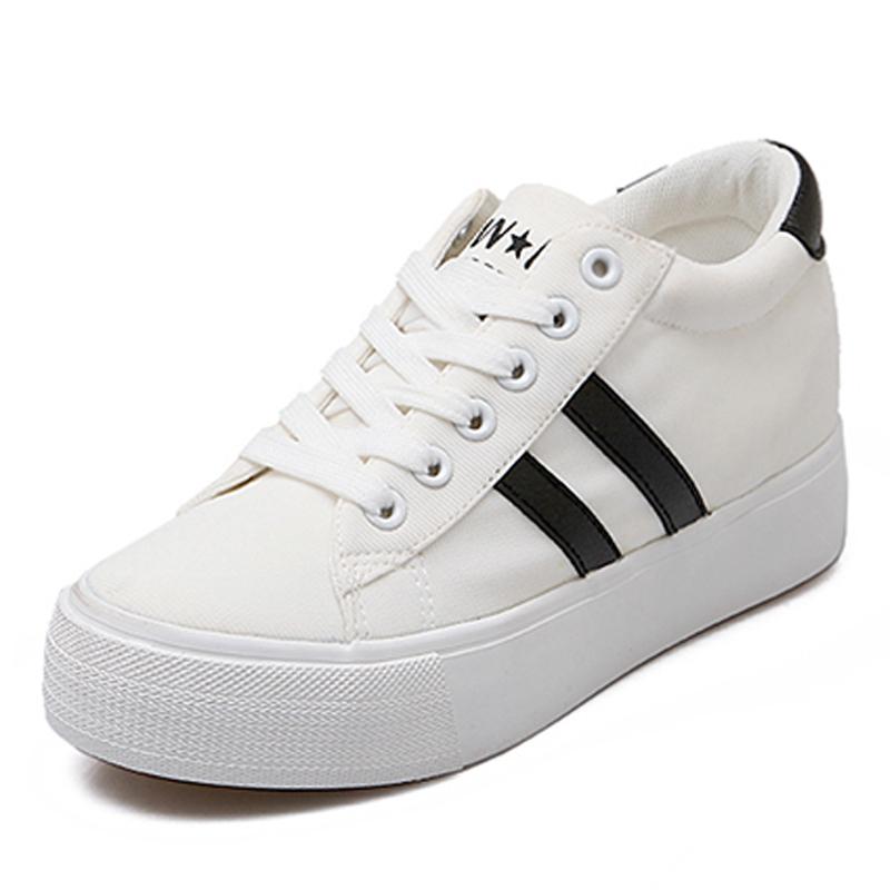 2016秋新低幫帆布鞋女厚底內增高潮 鞋 增高鞋透氣白色板鞋