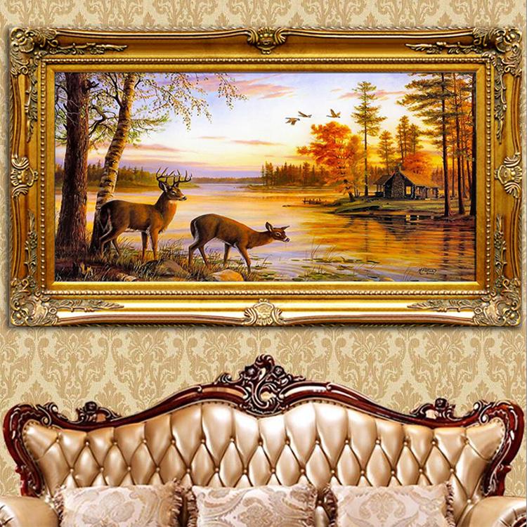 Ручная роспись континентальный пейзаж живопись вход гостиная диван фон стена декоративный живопись фэн-шуй лось счастливый магазин картины