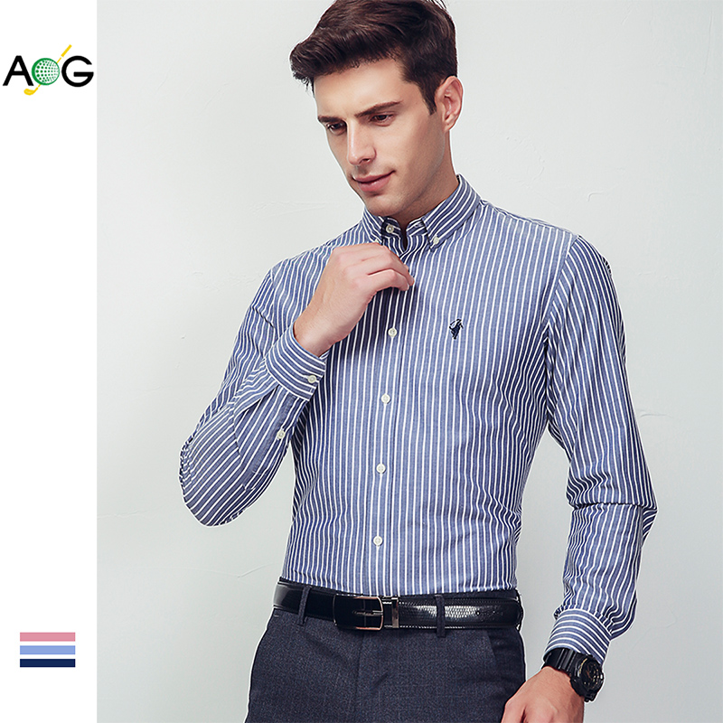 AOG Aoge new cotton vertical stripe shirt mens long sleeve young and middle-aged business shirt