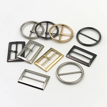 Metal circular three-step buckle belt buckle back strap day buckle shoe case buckle clothes decorative corner button
