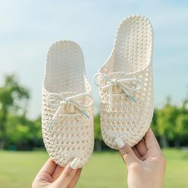 凉拖鞋女外穿夏季时尚包头护士平底孕妇塑料凉鞋复古蝴蝶结洞洞鞋图片