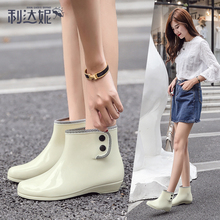 Rain shoes short tube fashion rain boots winter antiskid overshoes water boots waterproof shoes women's inner sleeve with plush and thickening wear warm outside