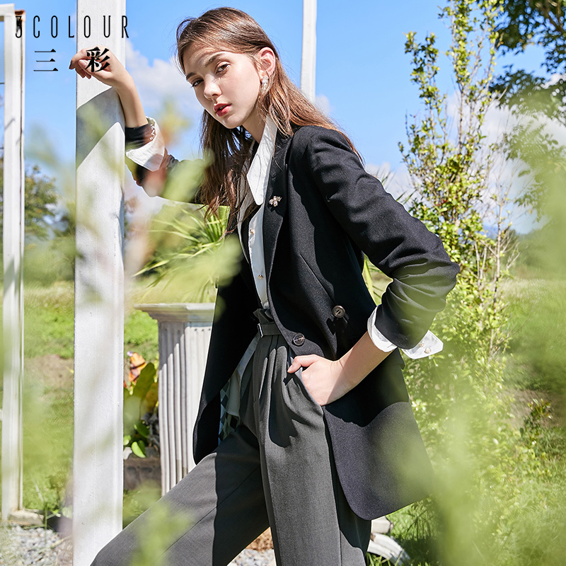 Tricolor 2020 early spring new suit collar tie waist collection medium length black casual small suit coat women's autumn