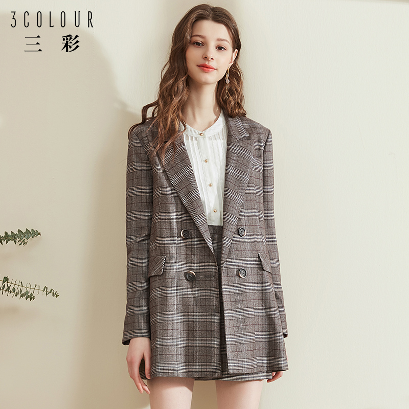 Tri-color spring and autumn 2019 new Korean version of casual small suit jacket net red retro British style suit women