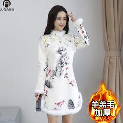 冬季过年新款加绒加厚保暖中国风长袖改良版旗袍小袄连衣裙少女装