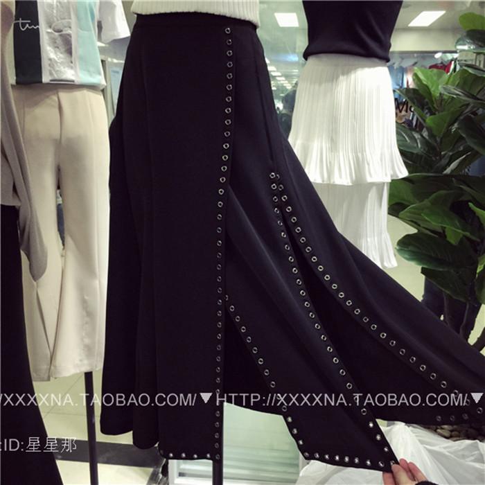 2016 лета новая Корейская версия простой тонкий Джокер щели юбки длинные нерегулярные заклепки мешок хип платье