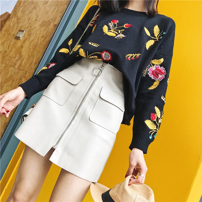 秋装新款韩版高腰显瘦包臀A字裙PU皮短裙双口袋圆环拉链半身裙女