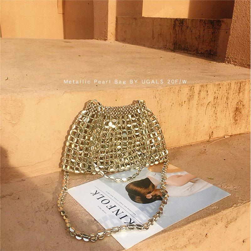 UGALS复古闪亮金属色亮片包手工编织串珠珍珠包单肩腋下包饺子包