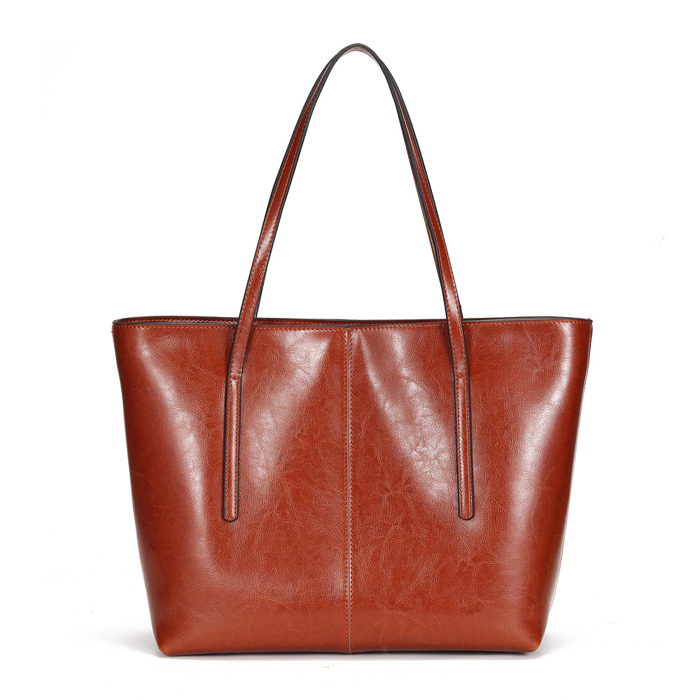 Oil wax leather tote bag retro simple splicing large capacity Mommy bag Classic women bag new European and American handbag