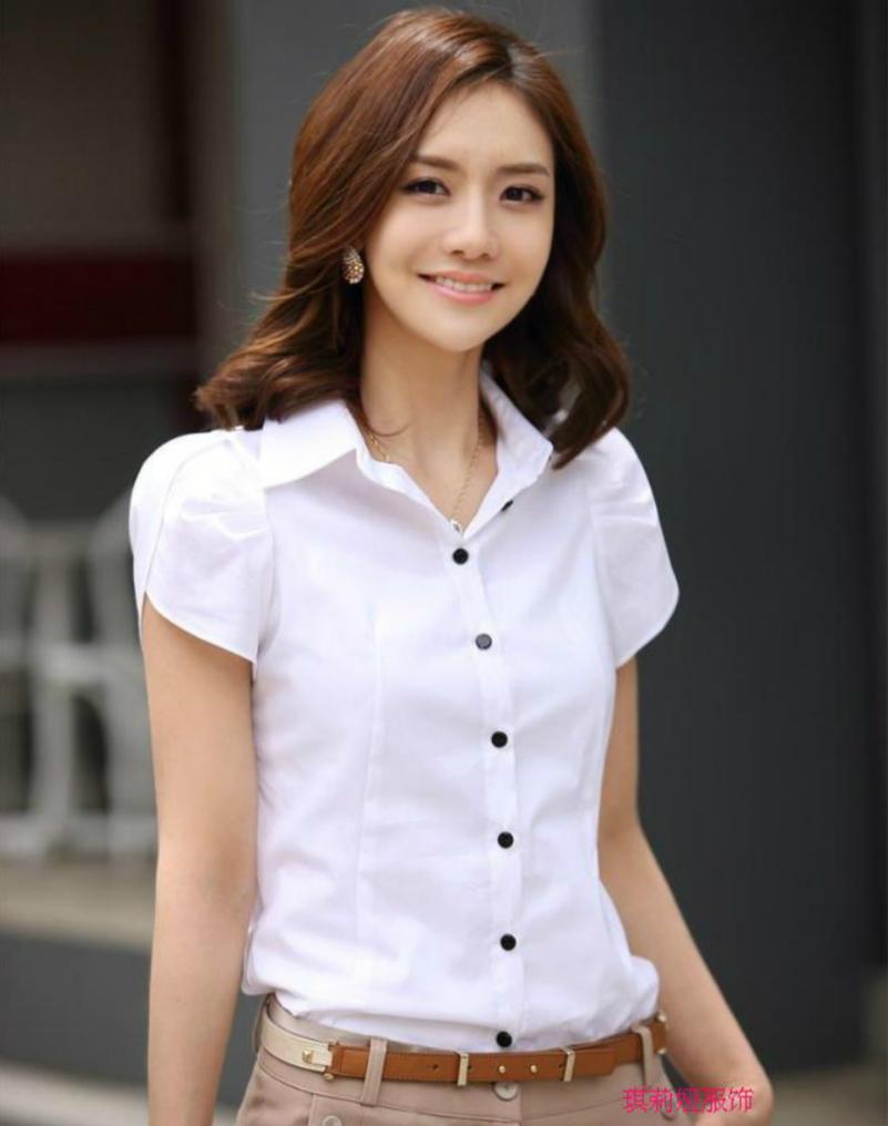 夏季衣服女装韩版潮修身甜美百搭职业上衣女荷叶边短袖白衬衫便宜