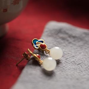 小银匠纯银和田玉耳环女夏季中国风高级感民族风古风耳钉耳饰耳坠