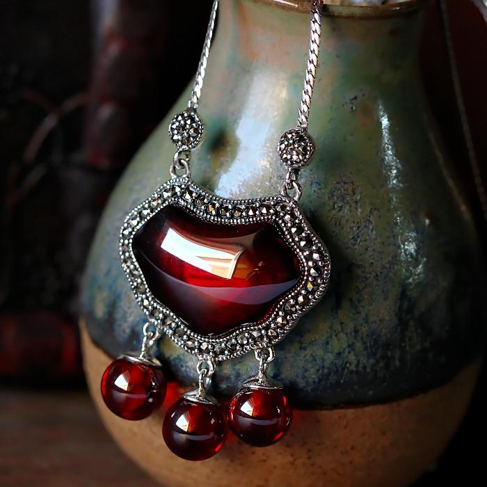 原创银饰品925纯银长命锁石榴石项链 女古韵手工独家款锁骨链吊坠
