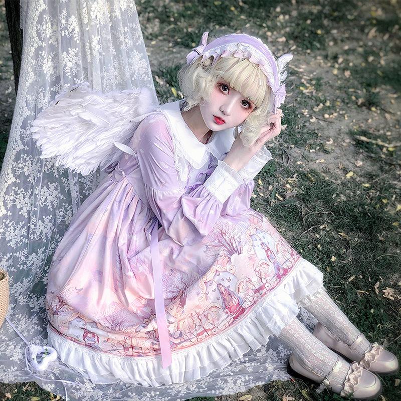オリジナルの新商品Lolita雲端の境op長袖日常ロリータ可愛いロリータワンピース秋冬スポット
