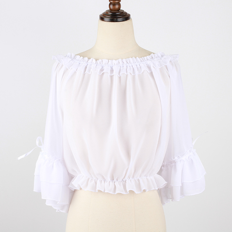Original design Lolita daily Chiffon girl sleeve top Lolita with cute one word collar and halter shirt