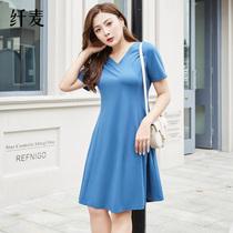 纤麦大码女装2020新款短袖连衣裙休闲收腰遮肚胖mm夏修身显瘦裙子